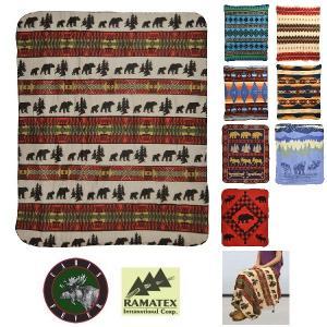 【ご予約品】RAMATEX/フリースブランケット ネイティブ 963754 毛布 ひざ掛け NATIVE ナバホ 動物 アニマル インディアン|funnybunny