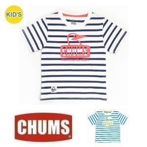 メール便可 CHUMS/Kid's Border Booby Face T-Shirt チャムス/キッズボーダーブービーフェイスTシャツ CH21-1035 子供 半袖 アウトドア しましま|funnybunny