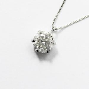 純プラチナ0.9ctダイヤモンドペンダント/ネックレス ベネチアンチェーン〔代引不可〕|funnyfunny