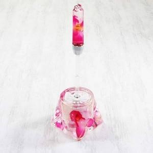 アクリル製トイレブラシ/トイレ掃除用具 〔ピンクオーキッド〕 造花|funnyfunny