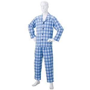 きほんのパジャマ(寝巻き) 〔紳士用 L〕 綿100% マジックテープ付き ズボン/前開き (介護用品) ブルー(青) funnyfunny