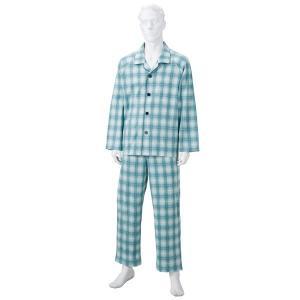 きほんのパジャマ(寝巻き) 〔紳士用 LL〕 綿100% マジックテープ付き ズボン/前開き (介護用品) グリーン(緑) funnyfunny
