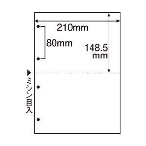 (まとめ) TANOSEE ミシン目入り用紙 (白紙・A4) 2分割・4穴 1セット(500枚:100枚×5冊) 〔×2セット〕|funnyfunny