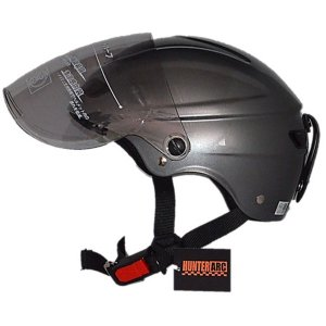 スタイリッシュな開閉式シールド付きハーフヘルメット ガンメタリック|funnyfunny