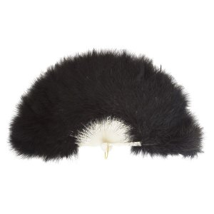 ふわふわ羽扇子/コスプレ衣装 〔ブラック〕 天然羽毛製 メイン部分約30cm 〔イベント〕|funnyfunny