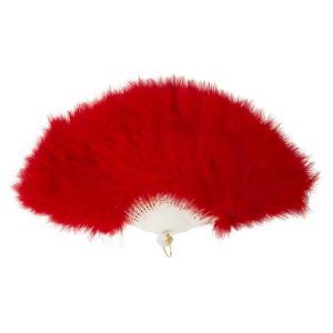 ふわふわ羽扇子/コスプレ衣装 〔レッド〕 天然羽毛製 メイン部分約30cm 〔イベント〕|funnyfunny