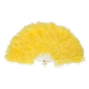 ふわふわ羽扇子/コスプレ衣装 〔イエロー〕 天然羽毛製 メイン部分約30cm 〔イベント〕|funnyfunny