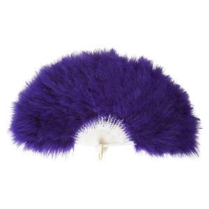 ふわふわ羽扇子/コスプレ衣装 〔パープル〕 天然羽毛製 メイン部分約30cm 〔イベント〕|funnyfunny