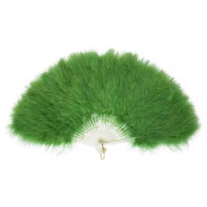 ふわふわ羽扇子/コスプレ衣装 〔グリーン〕 天然羽毛製 メイン部分約30cm 〔イベント〕|funnyfunny