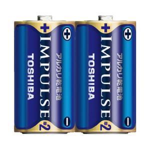 (まとめ)東芝 インパルス アルカリ乾電池 単2電池 2個パック〔×50セット〕|funnyfunny
