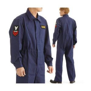 アメリカ海軍 (米軍 )紋章入り ヘリンボーンワーカーカバーオール 522904 ネイビー M funnyfunny