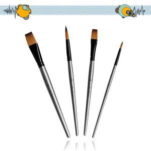 ペイントブラシ アクリル筆  油絵筆 水彩筆 画筆 4本セット 樺の木 丸型、平型