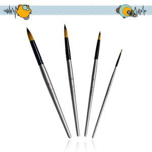 ペイントブラシ アクリル筆  油絵筆 水彩筆 画筆 4本セット 樺の木 丸型