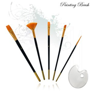 ペイント ブラシ 油絵の具 アクリル筆 油絵筆 水彩筆 画筆 油絵筆5点セット パレット付き