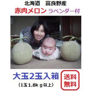 富良野産 赤肉メロン 大玉2玉 ラベンダー付き【お中元 ご贈答に最適!】|furano-kanofarm