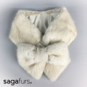 SAGAパールミンクリボン風カラー★取外し可能リボン付き|furaurore