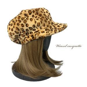 ウィーゼルレオパード柄プリントキャスケットつば付き帽子 通常サイズ 日本製 48585|furaurore