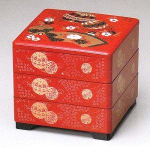 重箱 朱3段重6.5寸 てまり(20-84-3)|fureaigift