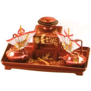 婚礼セット 朱 17.0婚礼セット宝来山(手描)(本金使用銚子飾付)|fureaigift