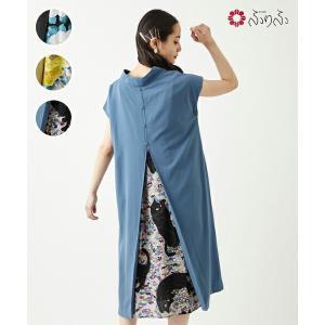 公式 ふりふ 抜け衿背開きOP 和柄 ワンピース 個性的 トップス 半袖 5分袖 春夏 カシュクール スカート付き 大人女子 レトロ モダン 猫 ねこ|furifu