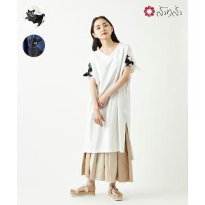 公式 ふりふ 猫の恩返しTシャツワンピース 和柄 ワンピース 個性的 ワンピ ロングワンピ ロング丈 半袖 5分袖 春夏 カシュクール スカート付き|furifu