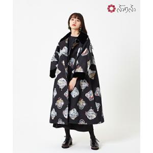 公式 ふりふ 猫のサーシャジャガードコート オリジナル 和柄 ジャガード 猫 ハイクオリティ 高品質 美シルエット カジュアル きれいめ アウター 美人 大人女子|furifu