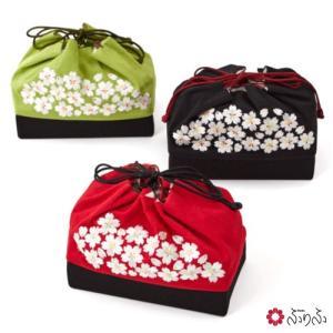 公式 ふりふ 桜 刺繍 巾着 かごバッグ 刺繍 桜 さくら 花 袴 和柄 バッグ 和装 和装バッグ 着物バッグ 成人式 卒業式 袴 大正ロマン|furifu