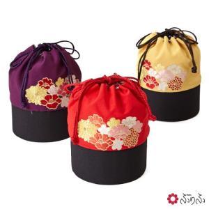 公式 ふりふ 花刺繍巾着花刺繍 巾着 かごバッグ 刺繍 ちりめん 花 袴 和柄 バッグ 和装 和装バッグ 着物バッグ 成人式 卒業式 袴|furifu