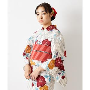 公式 ふりふ 単品 浴衣「縞椿」 ふりふセレクト浴衣 女性 ゆかた yukata 花柄 総柄 白地 椿 つばき ツバキ 古典柄 レトロ モダン 粋 涼しげ 華やか シンプル furifu