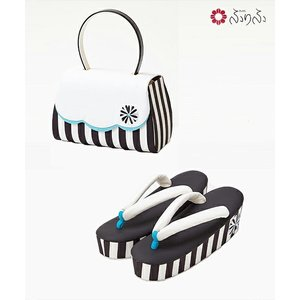 ふりふ 草履+バッグ 2点セット(「mum草履」・「mumバッグ」) 草履 バッグ セット レトロ 厚底 ソール プラットフォーム かわいい かっこいい モダン 個性的|furifu