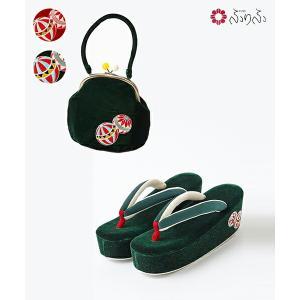 公式 ふりふ 草履+バッグ 2点セット(「まりぼんぼん刺繍草履」・「まりぼんぼんバッグ」) 草履 バッグ セット レトロ 厚底 ソール プラットフォーム かわいい|furifu