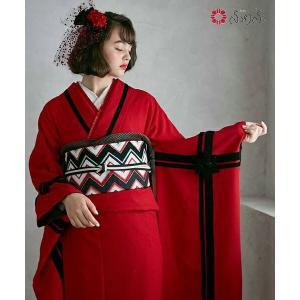 ふりふ 振袖+袋帯 2点セット(「ギフトリボン」・「ジグザグモール」) 振袖 セット レトロ ギフトリボン 赤 かわいい かっこいい モダン 個性的 大正ロマン|furifu