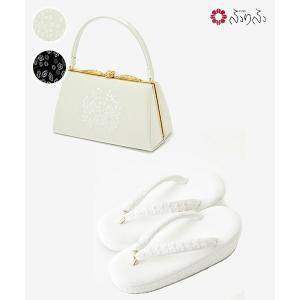 公式 ふりふ 草履+バッグ 2点セット(「 レーススパンコール草履」・「南天刺繍バッグ」) 草履 バッグ セット レトロ 厚底 ソール プラットフォーム かわいい|furifu