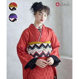 公式 ふりふ 振袖+袋帯 2点セット(「つるの行進」・「ジグザグモール」) 振袖 セット レトロ 鶴 ツル 赤 かわいい かっこいい モダン 個性的 大正ロマン 古典|furifu