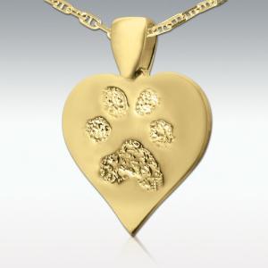 足型や鼻型でつくる遺影ジュエリー Perfect Memorials Paw Print 14k Gold Heart Pendant ハート型 14Kゴールド ペンダントトップ 遺骨