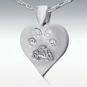 足型や鼻型でつくる遺影ジュエリー Perfect Memorials Hoof or Foot Print 14k White Heart Pendant ハート型 14Kホワイトゴールド ペンダントトップ 遺骨