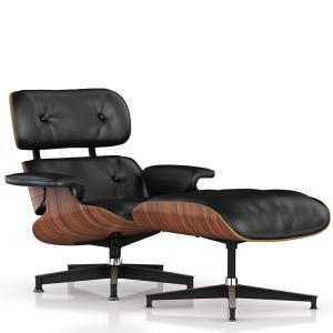 イームズチェア オットマンのセット ウォールナット 皮革 ブラック Herman Miller ハーマンミラー|furniture-direct