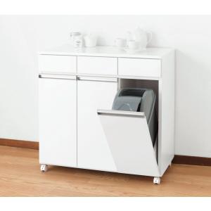 ダストボックス ゴミ箱 19Lペール3ヶ付 3D ホワイト キャスター付き|furniture-direct
