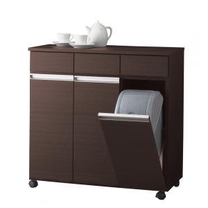 ダストボックス ゴミ箱 19Lペール3ヶ付 3D ダークブラウン キャスター付き|furniture-direct