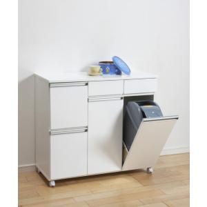 ダストボックス ゴミ箱 19Lペール2ヶ付 4D ホワイト キャスター付き|furniture-direct