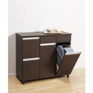 ダストボックス ゴミ箱 19Lペール2ヶ付 4D ダークブラウン キャスター付き|furniture-direct