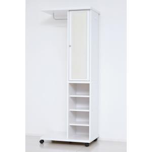 ブティックハンガー おしゃれなハンガー ハンガーラック 鏡付き キャスター付き 白|furniture-direct