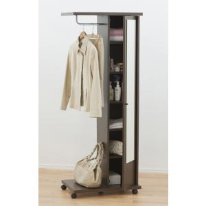 ブティックハンガー おしゃれなハンガー ハンガーラック 鏡付き キャスター付き ダークブラウン|furniture-direct