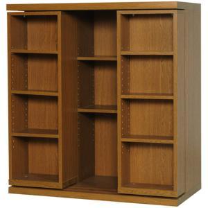 スライド書棚 2重スライド 雅 BM-90 高級  幅900×高さ960mm 完成品|furniture-direct