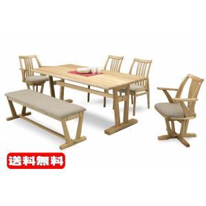 ダイニング テーブル セット 6点 大型 180×88 ベンチタイプ 肘付き回転 肘無し HIBARI2-A|furniture-hayamizu
