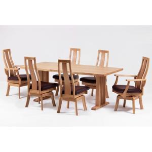 ダイニング テーブル セット 7点 大型 180×90  回転式 ハイバック ナチュラル axis|furniture-hayamizu
