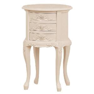 40 ラウンド  丸型  チェスト ko-mo  3d   アンティーク調 ヨーロピアンテイスト家具 [ホワイト/ブラウン] furniture-hayamizu