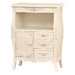 60 FAX台  引き出し付き   アンティーク調 ヨーロピアンテイスト家具 [ホワイト/ブラウン] furniture-hayamizu