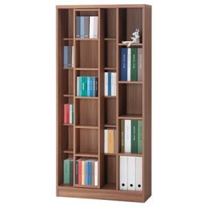 スライド書棚(スライド本棚) エースシリーズ 幅85cm ASD-90 リアルウォールナット|furniture