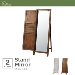 スタンドミラー おしゃれ 木製 全身鏡 ヴィンテージ アンテ...
